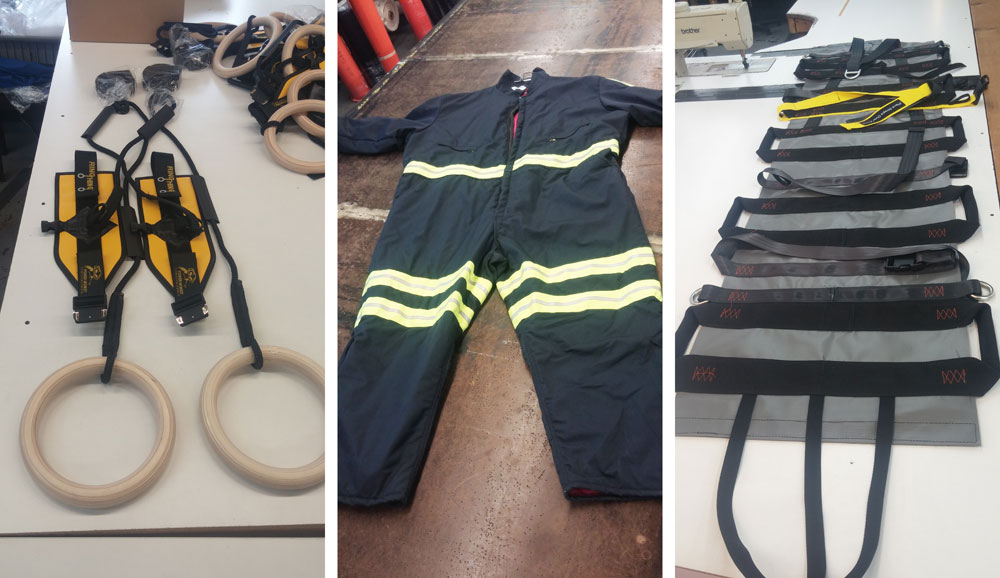Custom made Gym rings, Firemen suit, and stretches